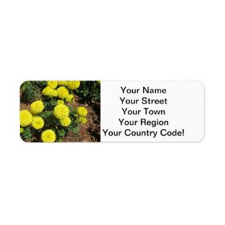 Yellow Pompom Marigolds Garden Plants Return Address Label