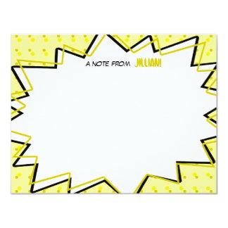 "Yellow Pop Art Comic Book Inspired Flat Notecards 4.25"" X 5.5"" Invitation Card"