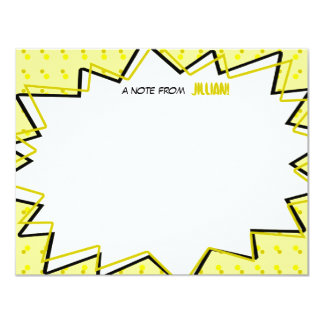 "Yellow Pop Art Comic Book Inspired Flat Notecards 4.25"" X 5.5"" Invitation Card"