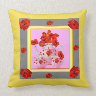 YELLOW POPPIES & PORCELAIN TEA POTS FLORALS THROW PILLOW