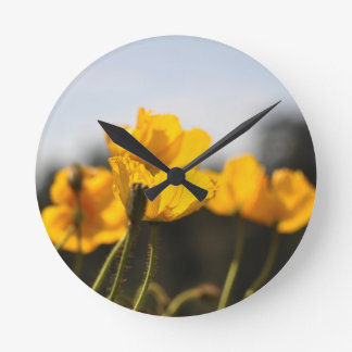 Yellow Poppies Round Clock