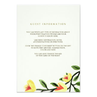 Yellow Poppies Wedding Insert Card