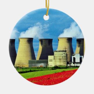 Yellow Poppy field and Ferrybridge power station, Ceramic Ornament