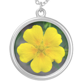 Yellow potentilla flower pendant necklace