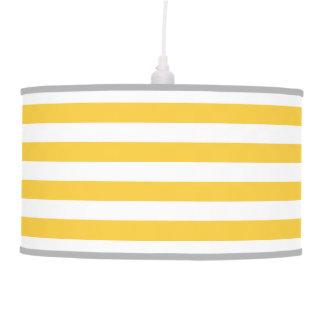 Yellow Preppy Nautical Stripes Pendant Lamp