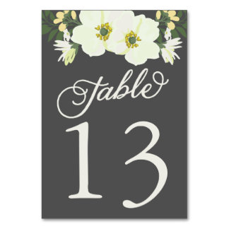 Yellow Pretty Anemones Floral Table Numbers Card Table Cards