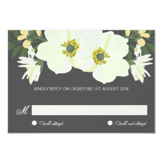 "Yellow Pretty Anemones Floral Wedding RSVP Card 3.5"" X 5"" Invitation Card"