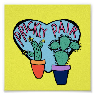 Yellow Prickly Pair Cactus Typography art Poster