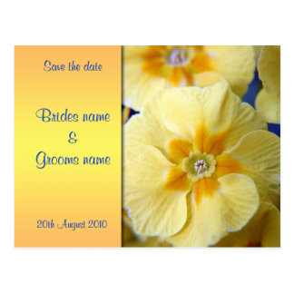 Yellow Primula Save the date postcard