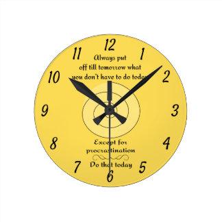 Yellow Procrastination Round Clock