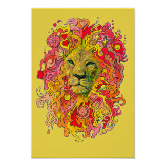 Yellow Psychedelic Lion Poster