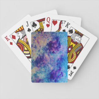 yellow, purple, blue, variegated, watercolour playing cards
