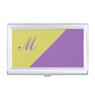 Yellow Purple Color Block Monogram initial Business Card Holder