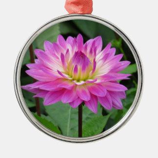 Yellow Purple Dahlia Metal Ornament