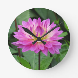 Yellow Purple Dahlia Round Clock