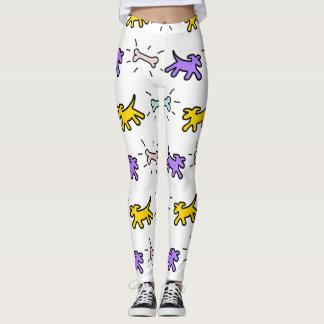 Yellow Purple Dog Bone Graffiti Style leggings 1