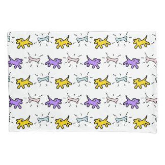 Yellow Purple Dogs Bones Graffiti Style Pillowcase
