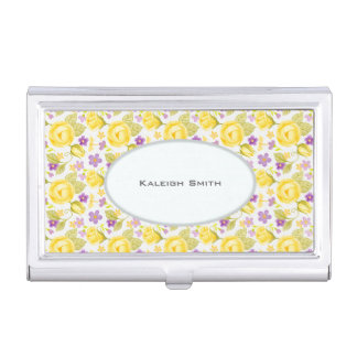 Yellow Purple Floral on White Personalized Business Card Holder