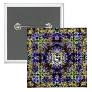 Yellow Purple Fractal Electricity M 2 Inch Square Button