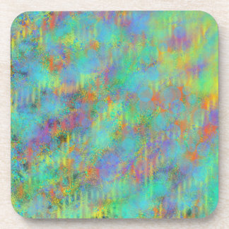 Yellow Purple Green Abstract Art Painting Design Coaster