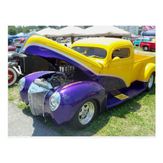 Yellow & Purple Hot Rod Postcard