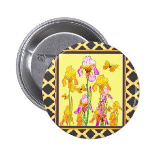 Yellow Purple Iris Butterfly Pattern 2 Inch Round Button