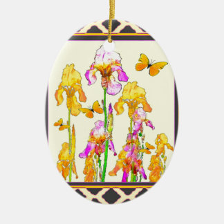 Yellow Purple Iris Butterfly Pattern Ceramic Oval Ornament
