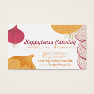 Yellow purple onions food chef catering culinary business card