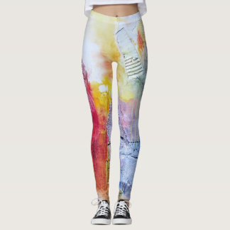 Yellow Purple Orange Red Faux Texture Abstract Art Leggings