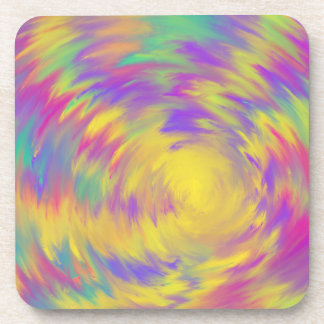 Yellow Purple Pink Aqua Spiral Abstract Art Design Coaster