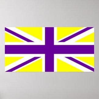 Yellow Purple Union Jack Poster