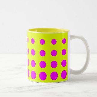Yellow &  Purple  Vector abstract dot Two-Tone Coffee Mug