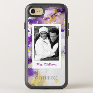 Yellow & Purple Watercolor | Add Photo OtterBox Symmetry iPhone 8/7 Case