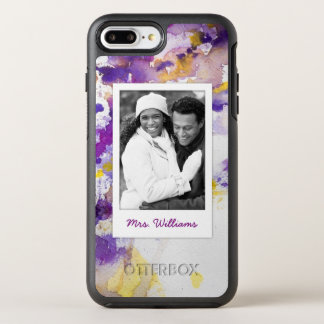 Yellow & Purple Watercolor | Add Photo OtterBox Symmetry iPhone 8 Plus/7 Plus Case