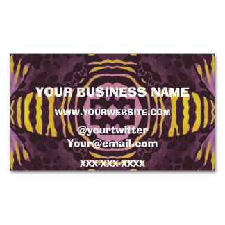 Yellow Purple Zebra Business Card Magnet