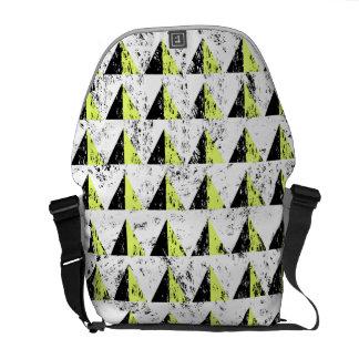 Yellow Pyramid Distressed Pattern Messenger Bag