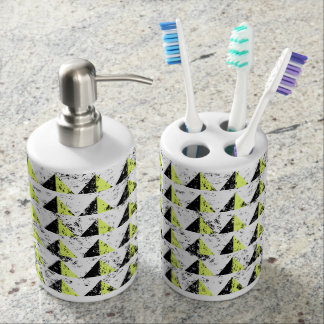 Yellow Pyramid Distressed Pattern Soap Dispenser And Toothbrush Holder
