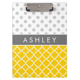 Yellow Quatrefoil and Grey Polka Dot Pattern Clipboard