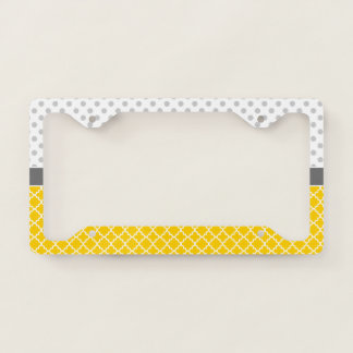 Yellow Quatrefoil and Grey Polka Dot Pattern License Plate Frame