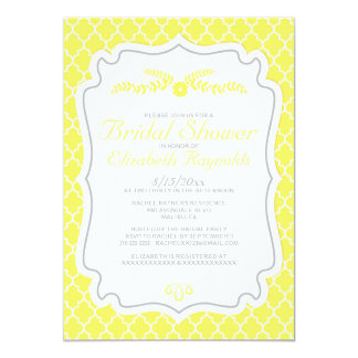 Yellow Quatrefoil Bridal Shower Invitations