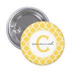 Yellow Quatrefoil Monogram 1 Inch Round Button