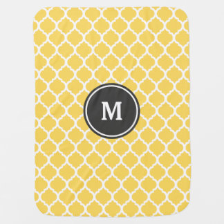Yellow Quatrefoil Monogram Baby Blanket