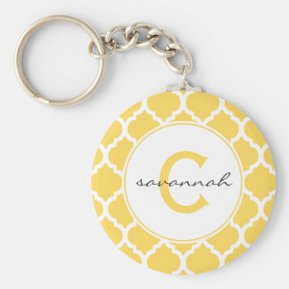 Yellow Quatrefoil Monogram Basic Round Button Keychain