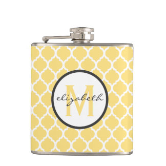 Yellow Quatrefoil Monogram Hip Flask