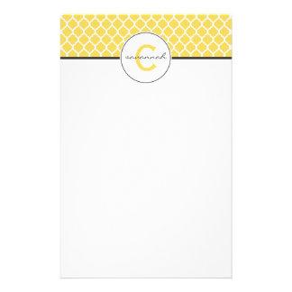 Yellow Quatrefoil Monogram Personalized Stationery