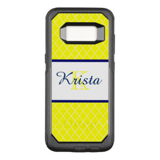 Yellow Quatrefoil Navy Monogram Phone Case