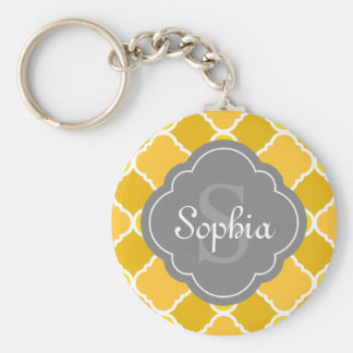 Yellow Quatrefoil Pattern with Grey Monogram Keychain