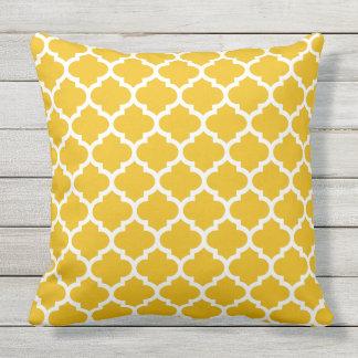Yellow Quatrefoil Print Throw Pillow