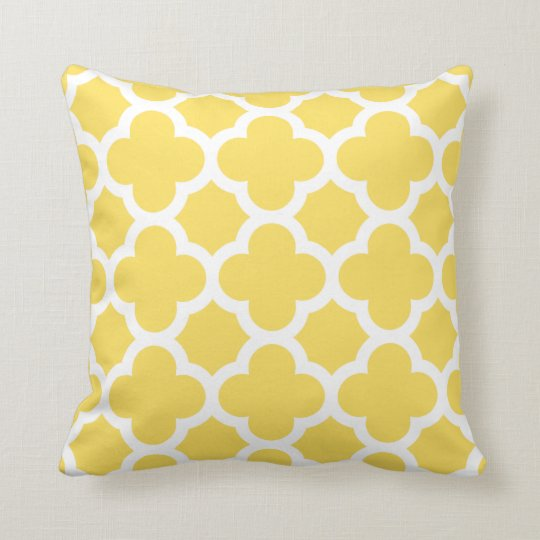 Yellow Quatrefoil Throw Pillow