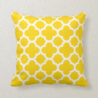 Yellow Quatrefoil Trellis Pattern Pillows